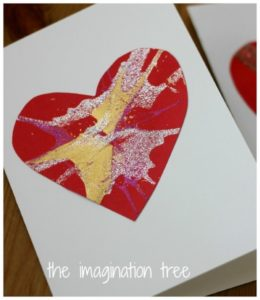 spin art heart card