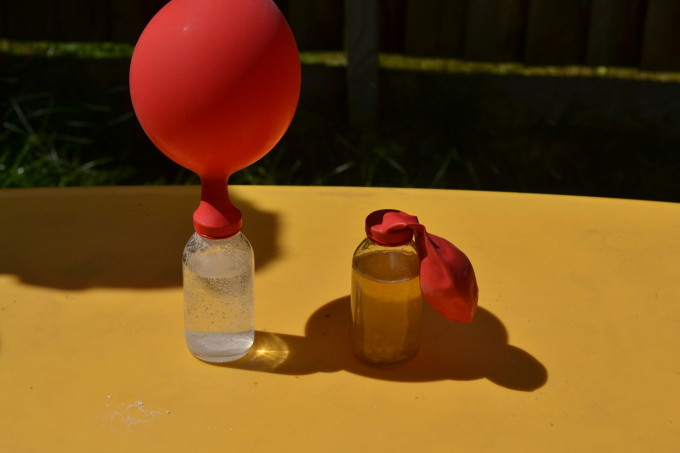 blow up a balloon with popping candy