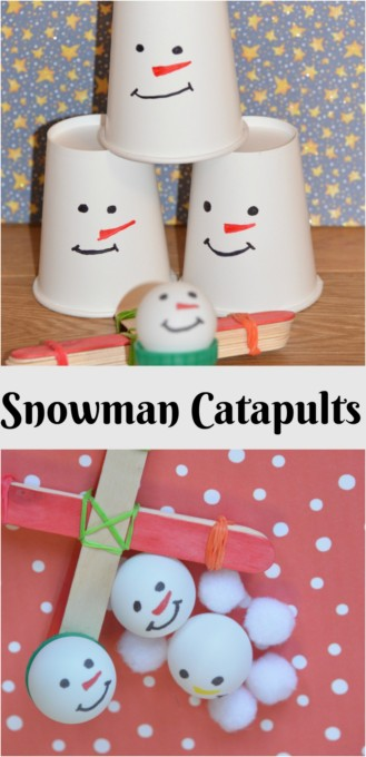 Snowman catapults