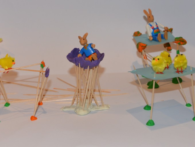 egg toothpick towers