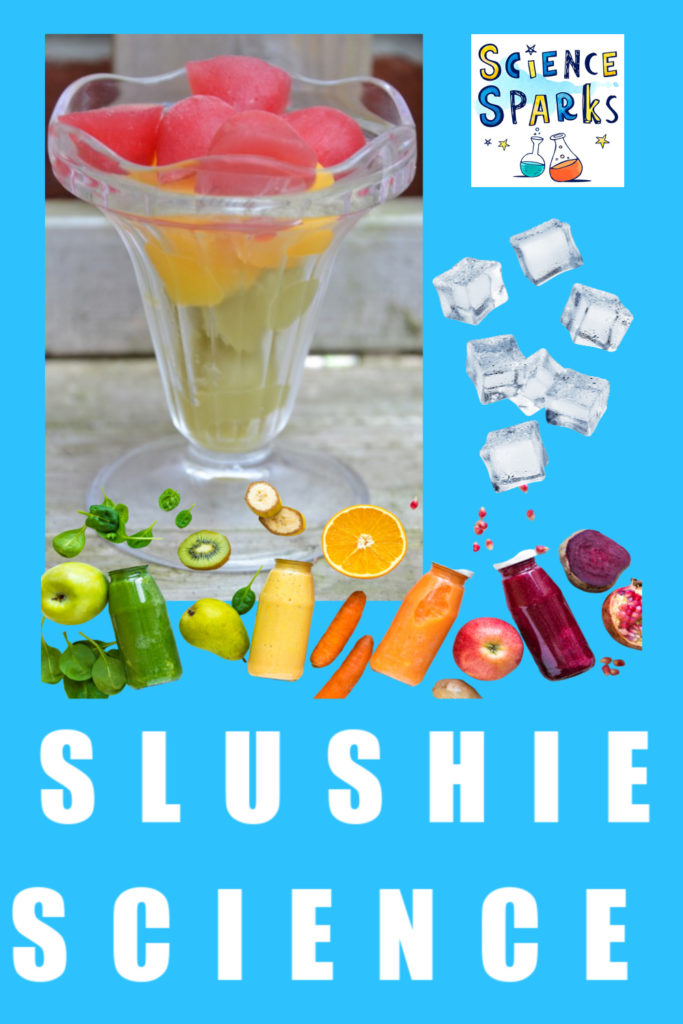 slushy drinks made with ice and salt. #kitchenscience #slushydrinks
