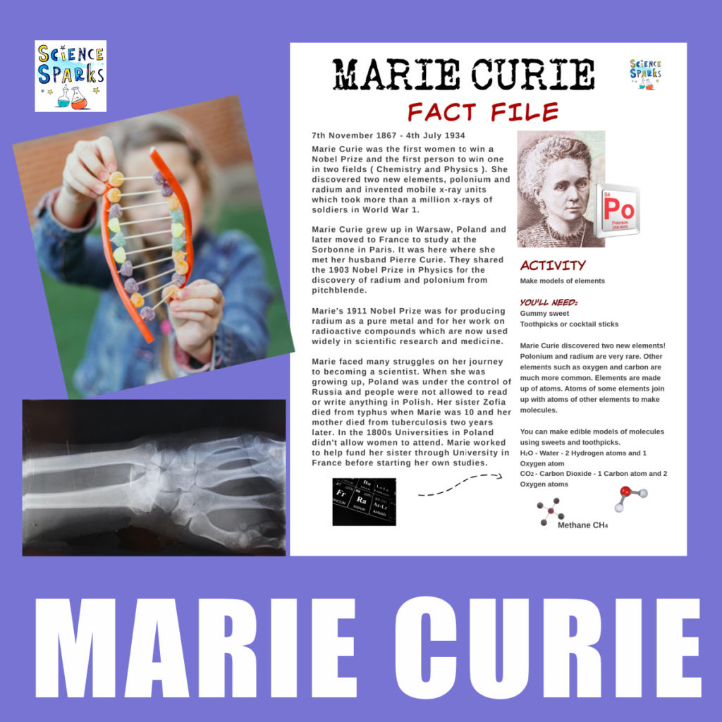 Free Marie Curie Fact File and ideas for science activities related to her work #MarieCurie #womenscientists #inspirationalwomen