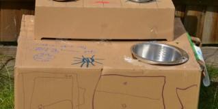 Design a cardboard kitchen