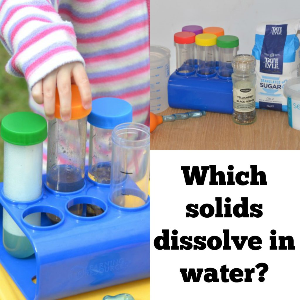 test tubes and sample materials to find out Which solids dissolve in water - science for kids