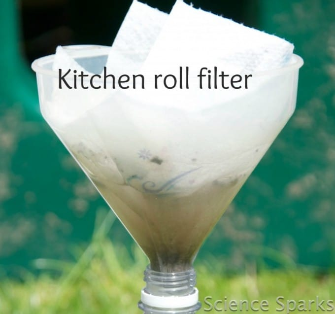 Kitchen roll water filter - kitchen science for kids