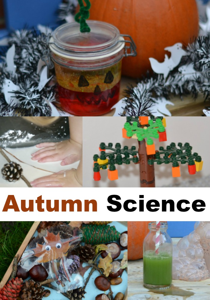 Fall science experiments - make a pumpkin lava lamp, model the seasons with LEGO, make witchy potions and more autumn science experiments for kids #autumnscience #fallscience