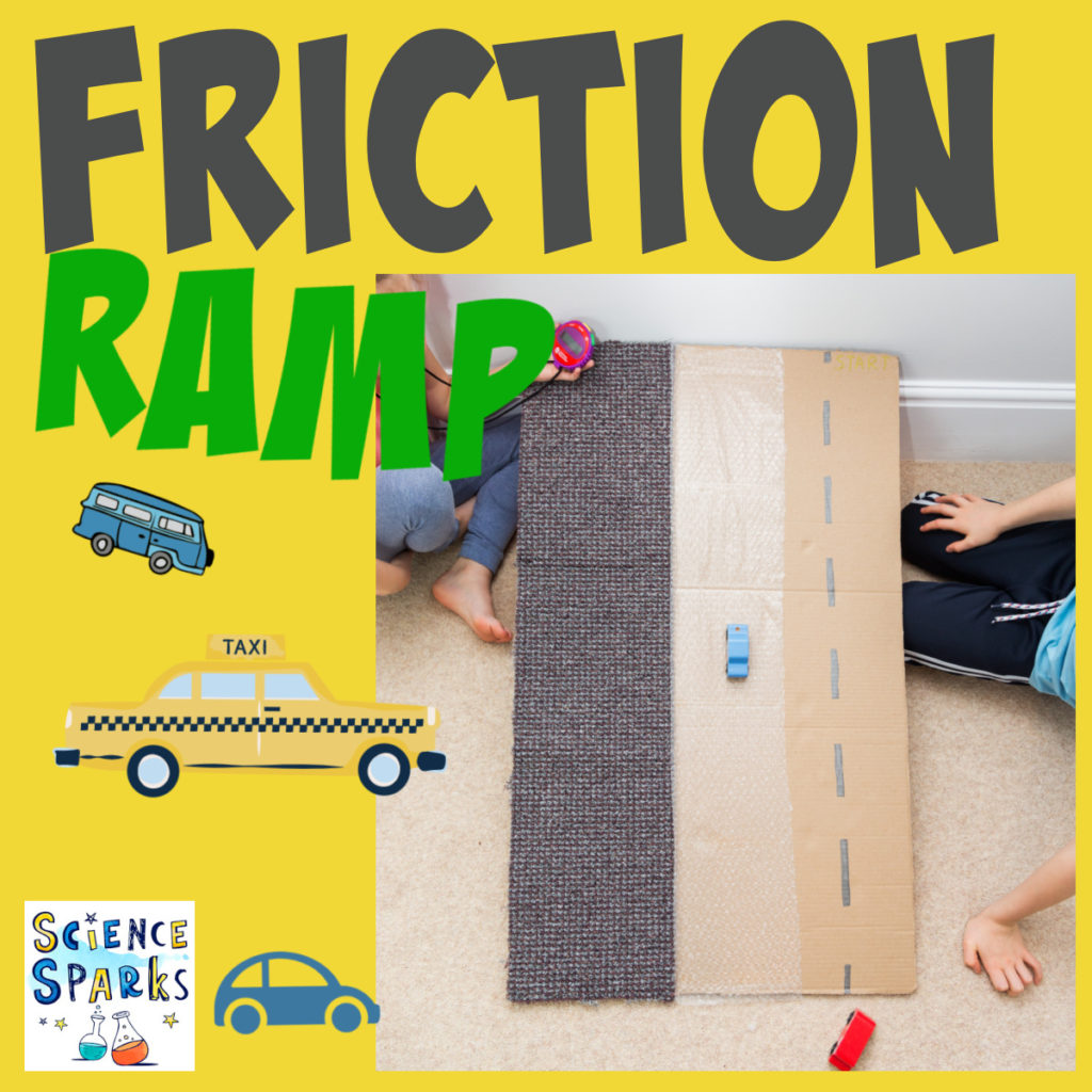 Homemade Friction Ramp, made with a large sheet of card, carpet and bubble wrap