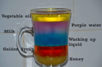 Layers of liquids with different densities in a jar
