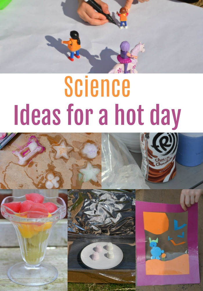 Science Ideas for a hot day - make your own slushy drinks, make a shadow frame, a solar oven and more fun summer science activities #scienceforahotday #scienceforkids #summerscience #solaroven