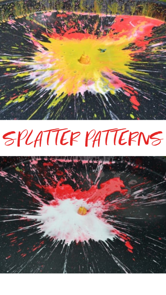 Splatter Patterns - Fun messy science activity for kids. Drop paint filled water balloons and observe the splatter pattern #scienceforkids #splatterpatterns #messyscience