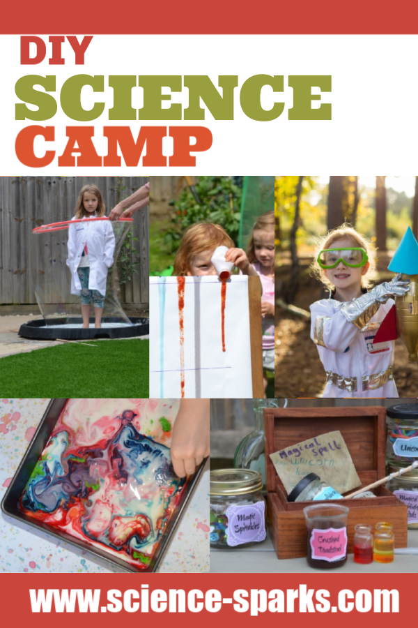 DIY Science Camp - set up your very own garden science camp this summer. Make giant bubbles, set up a viscosity race, make water powered bottle rockets and lots more science camp fun! #sciencecamp #summerscience #scienceforkids