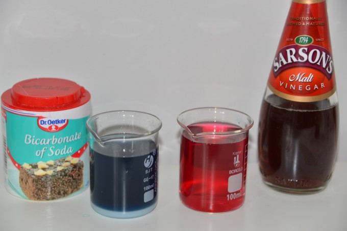 Vinegar, baking soda and red cabbage indicator