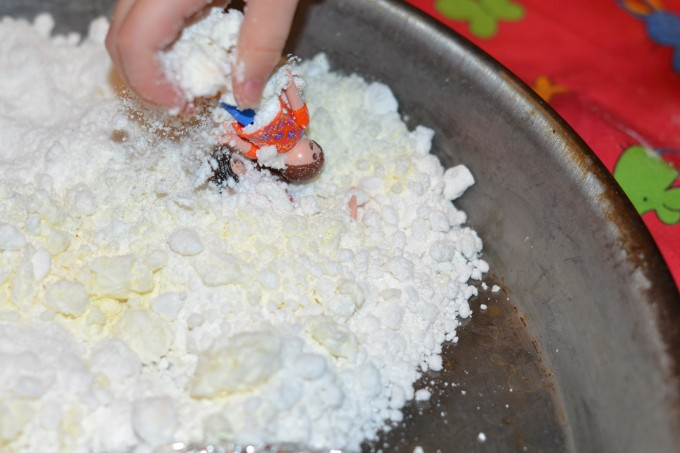 pretend snow made with baking powder