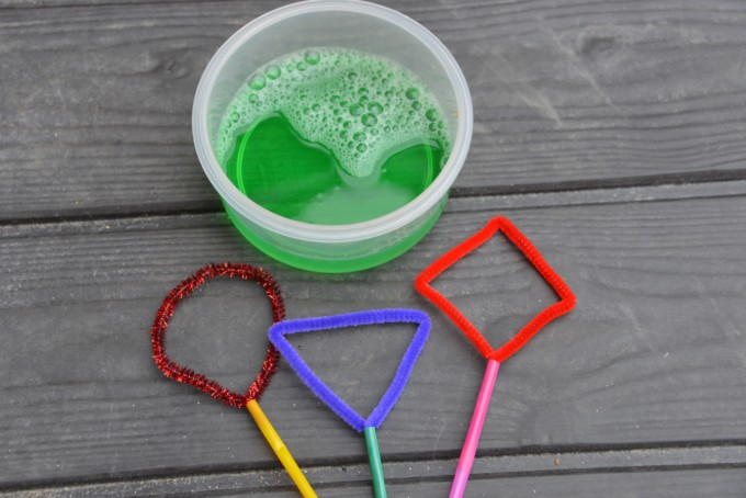 different shaped bubble wands made with straws and pipecleaners - fun summer STEM Challenge