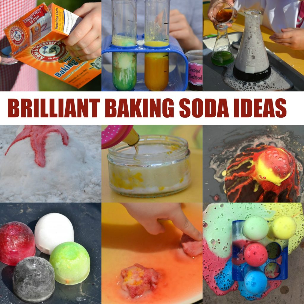 Brilliant baking soda experiments for kids. Make fizzy potions, honeycomb, a volcano and lots more #chemistryforkids #bakingsodaexperiments #bakingsodaactivities