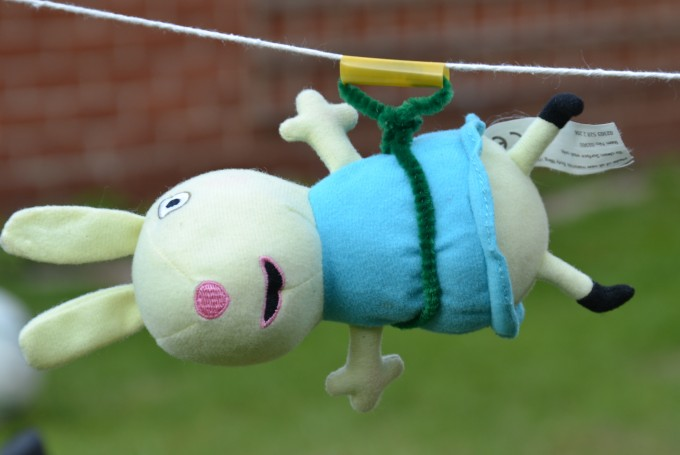 Teddy zip line experiment - fun science experiment for kids