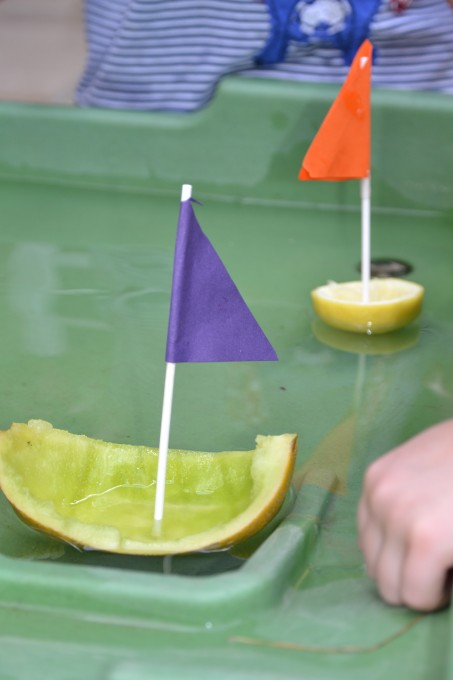 Fruity boats - water table science for kids