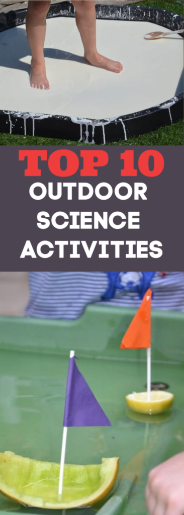 Top 10 Outdoor Science Experiments for kids. Paint with syringes, make splatter patterns, create a water wall and lots more fun outdoor science for summer #outdoorscience #summerscience #scienceforkids