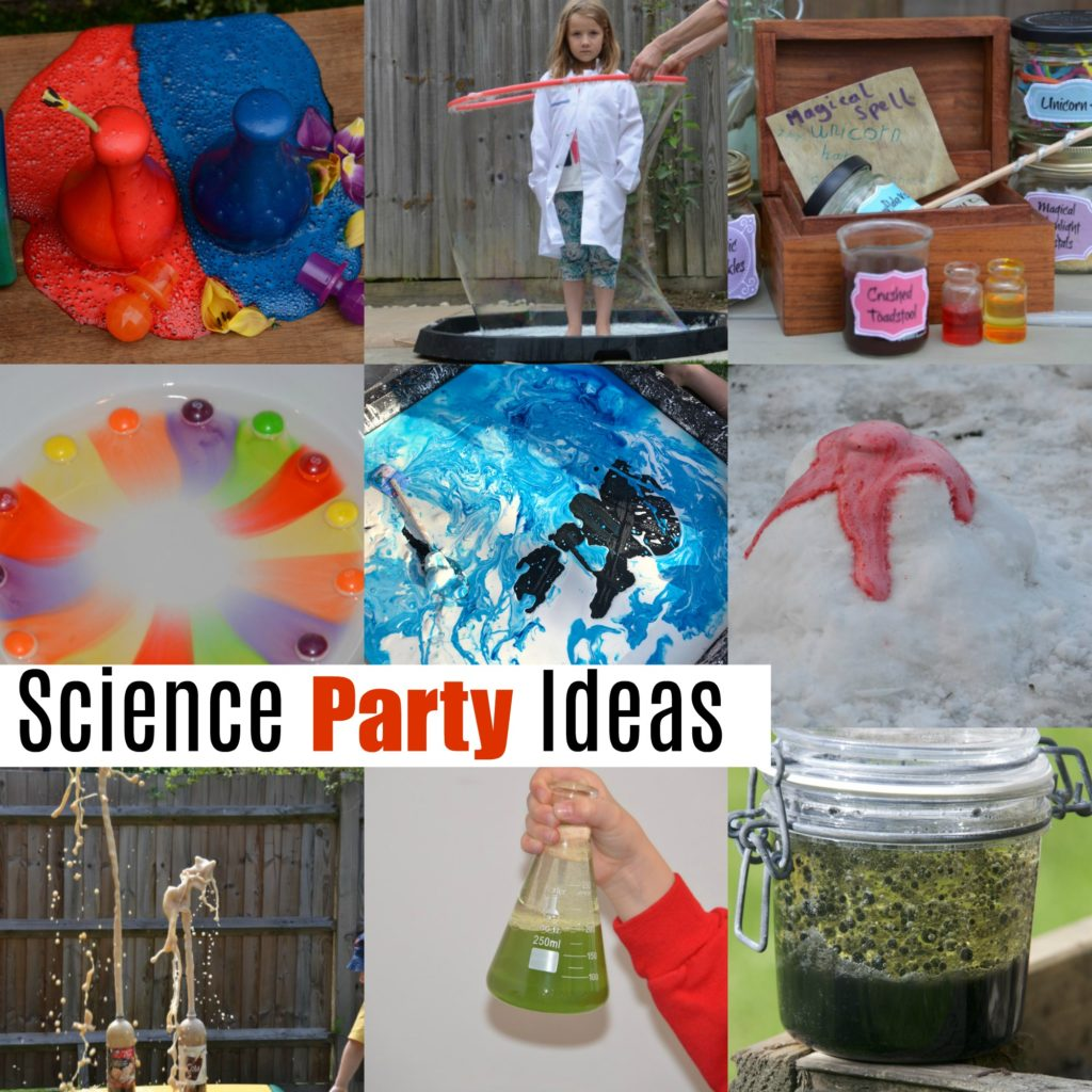 Awesome ideas for a science party. Make giant bubbles, bottle rockets, potions, lava lamps and more cool experiments for a science party. #scienceparty #scienceforkids #coolscience