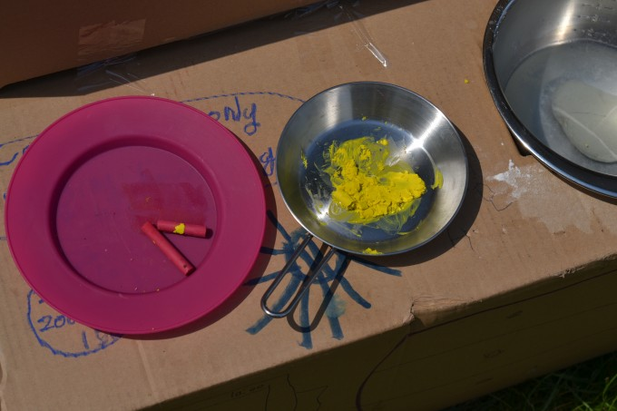 solar radiation experiment - melting crayons in the sun