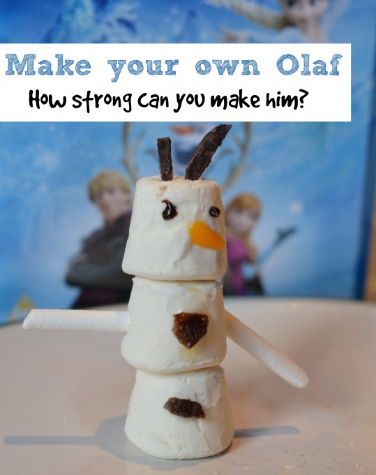 Make a marshmallow Olaf - science experiment for kids