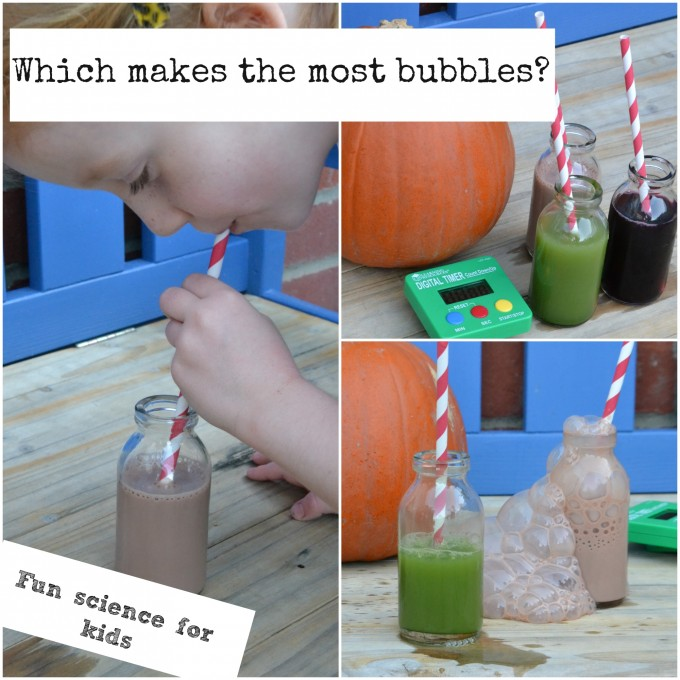 Which drink makes the most bubbles - Halloween STEM Activites for kids.Image of child blowing bubbles into a drink