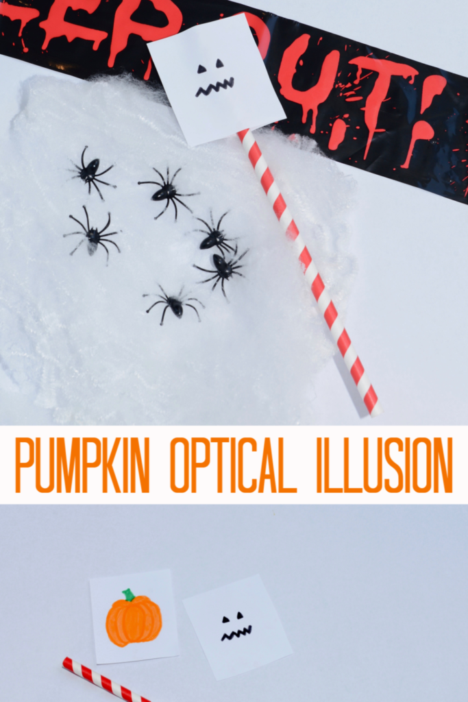 Easy pumpkin optical illusion #Halloween #Scienceforkids #Halloweenscienceprojects #HalloweenCrafts