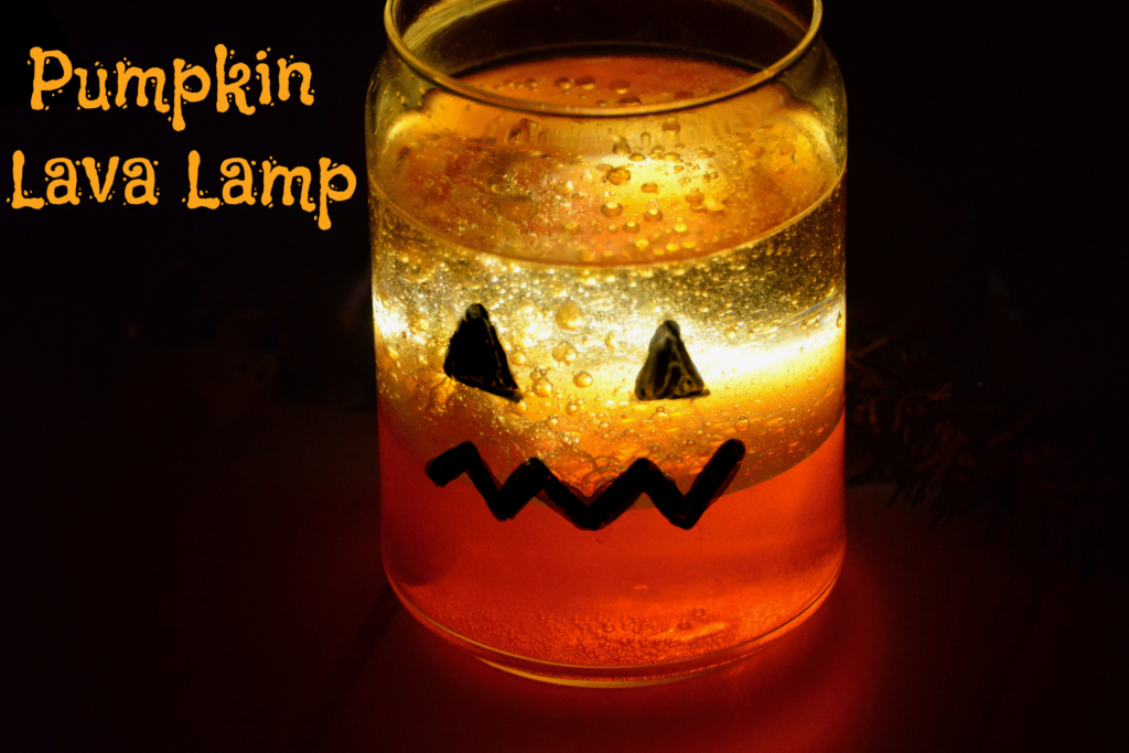 Pumpkin lamp -  made with oil and coloured water