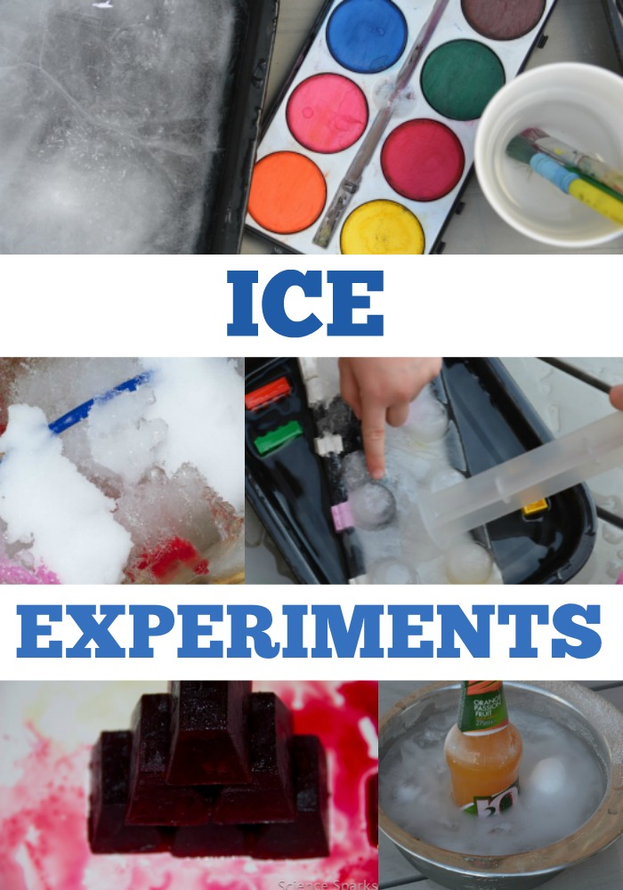 Brilliant collection of ice experiments for kids. Paint on ice, investigate with ice and salt, supercool a drink with ice and more ice investigations