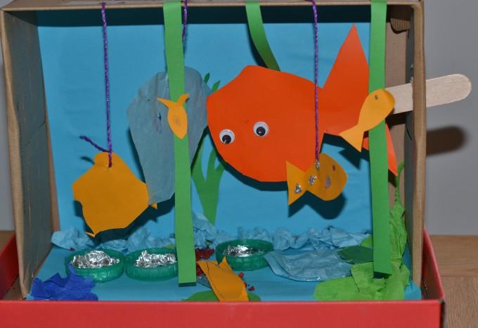 how to make aquarium with shoe box