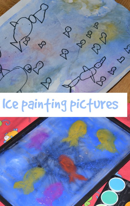 ice painting - outdoor science for kids