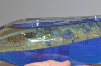 underwater themed density bottle - amde with blue water and oil