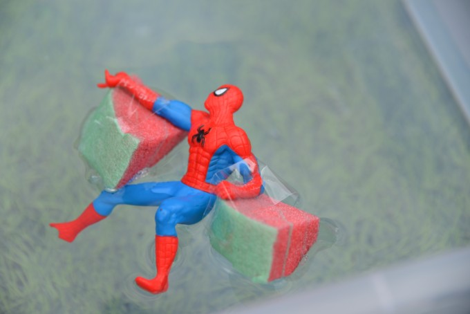 Spiderman figure with arm bands - science for kids - superhero experiment