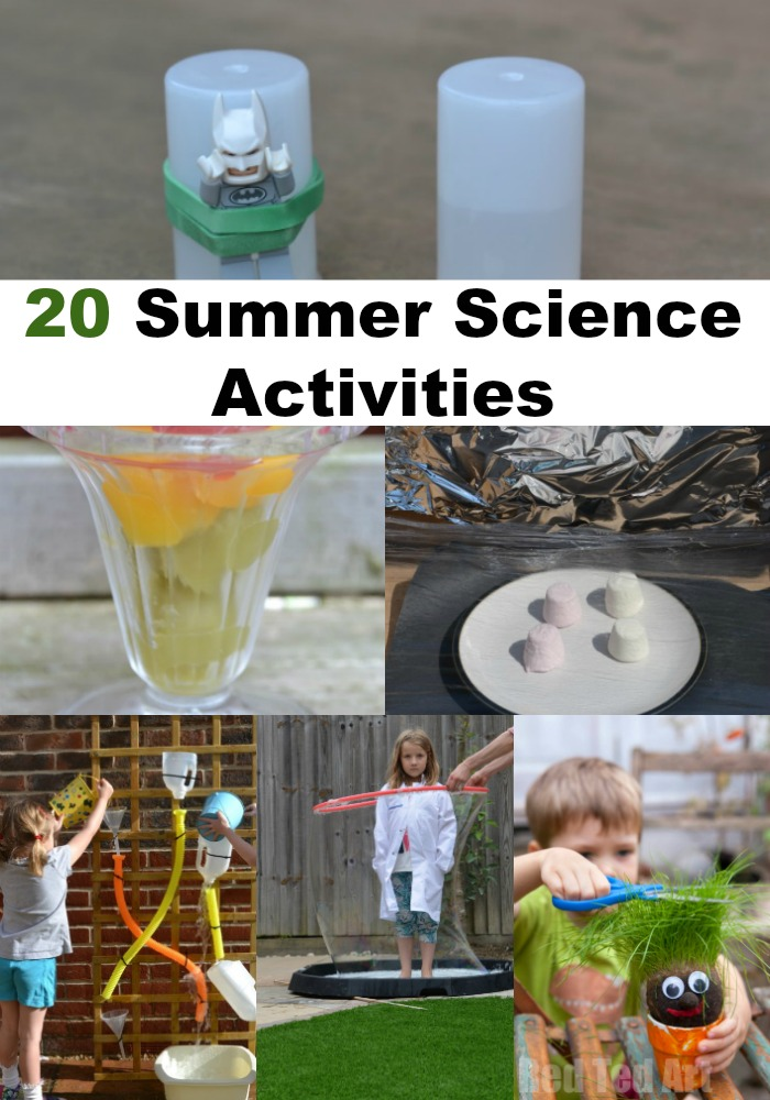 20 brilliant summer science experiments for kids. Make a water cycle model, sun pictures, paint with syringes and lots more summer science #summerscience #scienceforkids #makignsciencefun