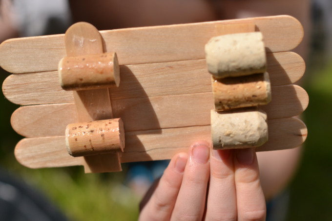 Raft made from lollysticks and corks - STEM for kids