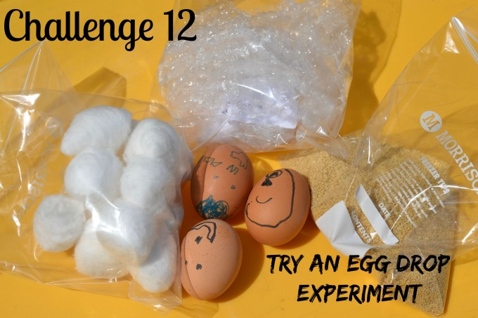 Science challenge - egg drop - eggs and bags containing different protective materials make a fun science challenge for kids of all ages