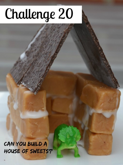 Candy house - easy edible STEM Challenge. House made from fudge blocks, icing and sheets of chocolate