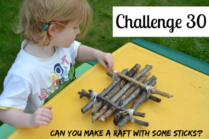 Raft building as a science challenge. Make a mini raft using sticks and string.
