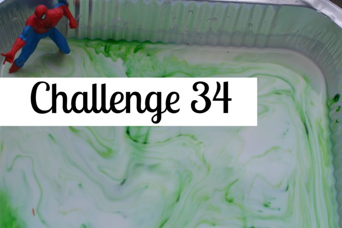 Science Challenge - green cornflour slime with a superhero toy in #scienceforkids