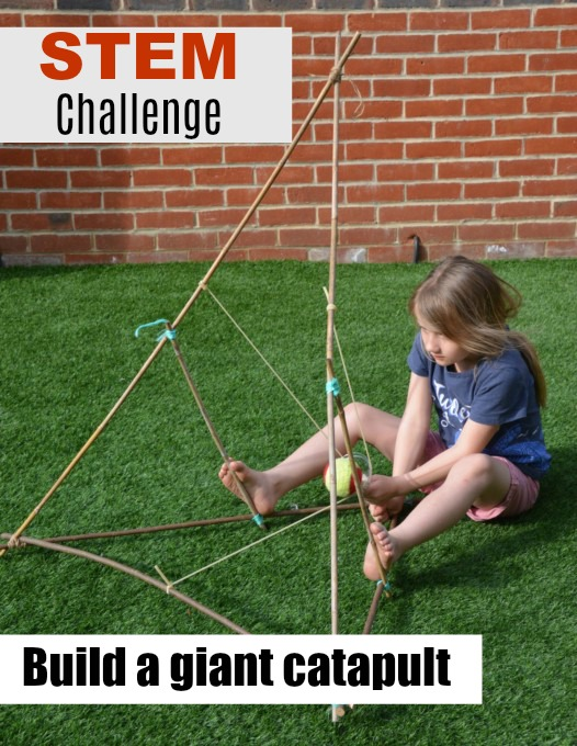 Giant catapult made with garden canes - #scienceforkids