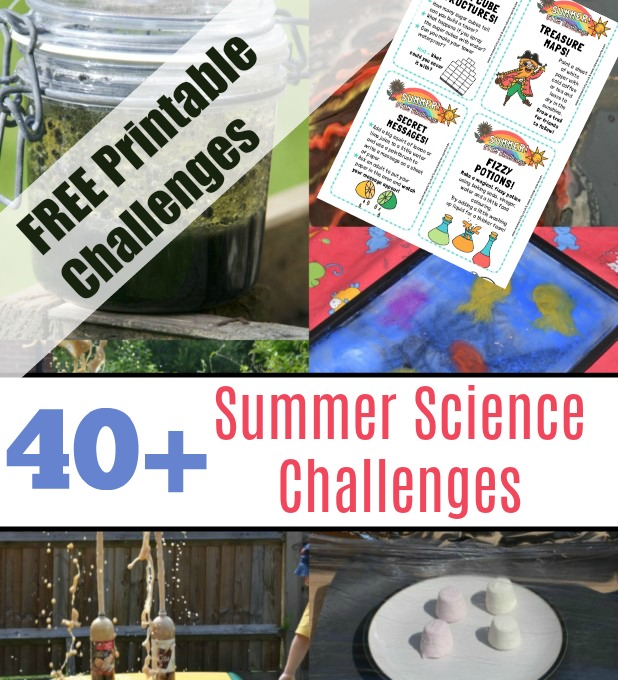 Science Challenges with FREE printables - easy science challenges for kids to do at home or school. Free printables included! #scienceforkids #scienceexperimentsforkids #sciencechallenges