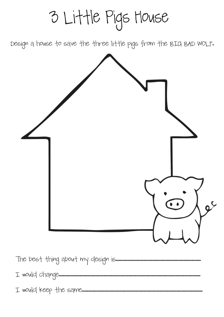 Design sheet with a single house for designing a house for the Three Little Pigs