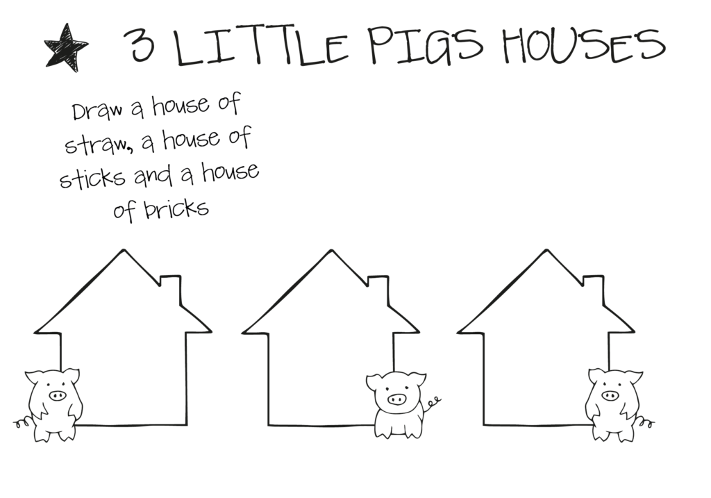 design sheet with three houses on it for a three little pigs STEM activity
