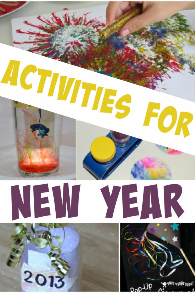 ideas for kids activities at New Year. Make a firework in a glass, firework paintings and lots more science for New Year #Scienceforkids #Newyearactivities #NewYearCrafts