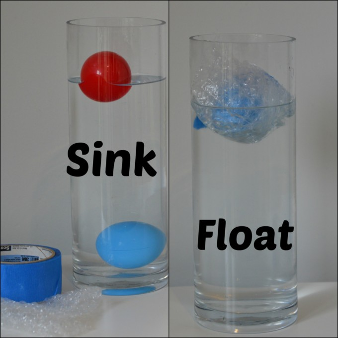 Two jars one with a ball covered in bubble wrap to make it float and one showing the same ball sinking
