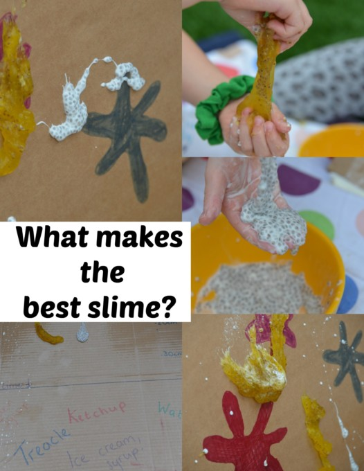 Different edible slimes for kids - cornflour slime, fybrogel slime and more slimes for kids
