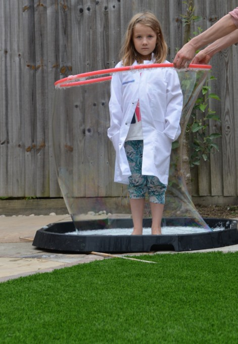 Hula hoop as a giant bubble wand