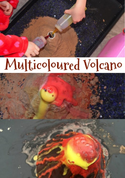 multicoloured volcano