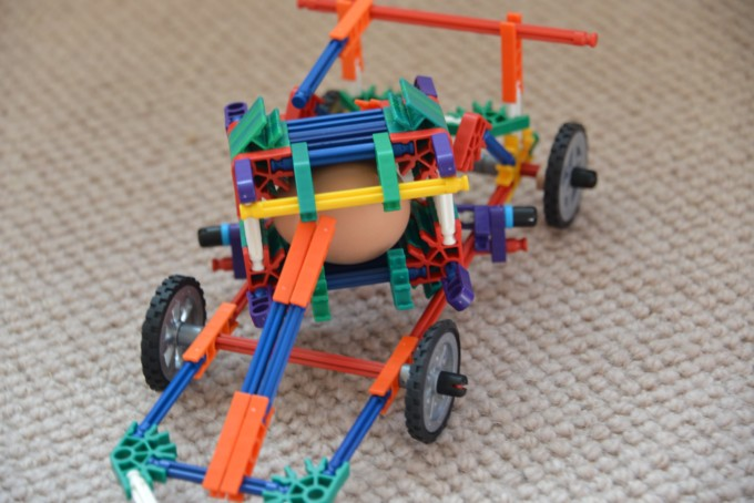 K'Nex Car build to save an egg from breaking as it crashes - easy Easter STEM Challenge