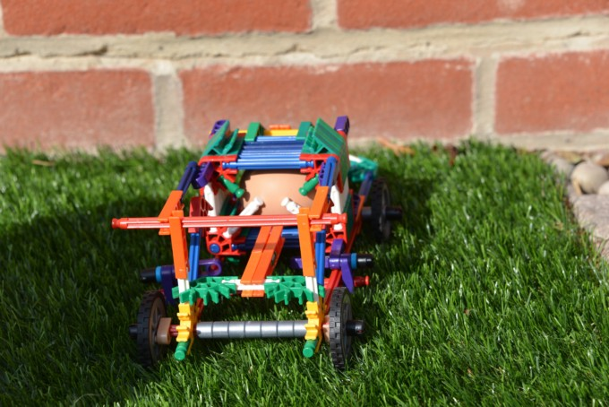 K'Nex Car built to keep an egg from breaking in a collision